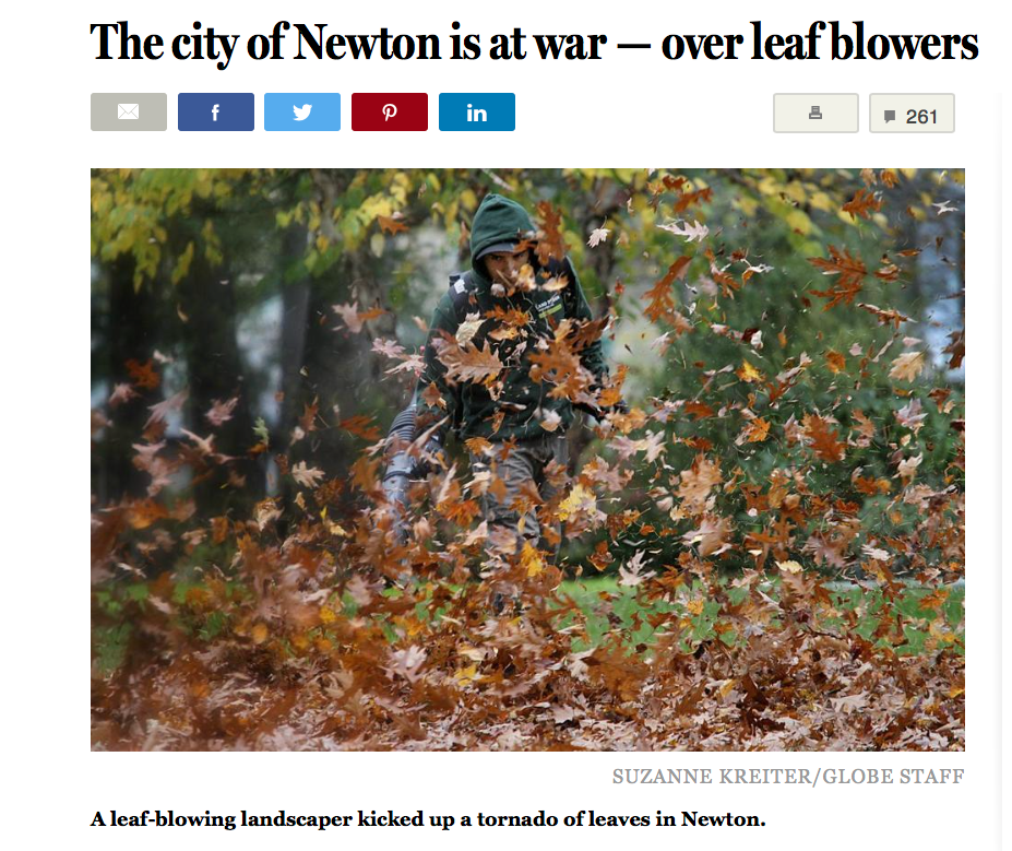 The  Globe's  story about Newton's leaf-blower dispute.