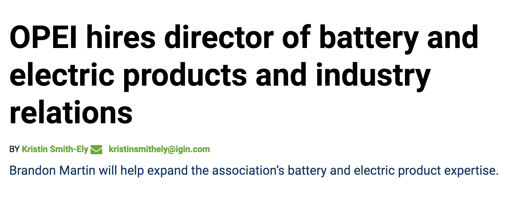 The power-equipment lobby, announcing that it has hired a battery-equipment specialist.