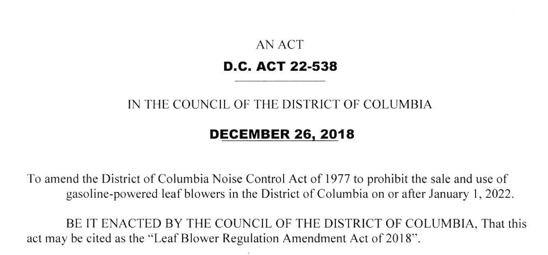 Screen shot of the beginning of the District's newly enacted Leaf Blower Regulation Act, above.