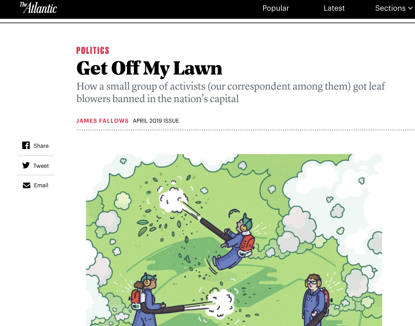 """From """" Get Off My Lawn ,"""" in the April, 2019 issue of  The Atlantic ."""