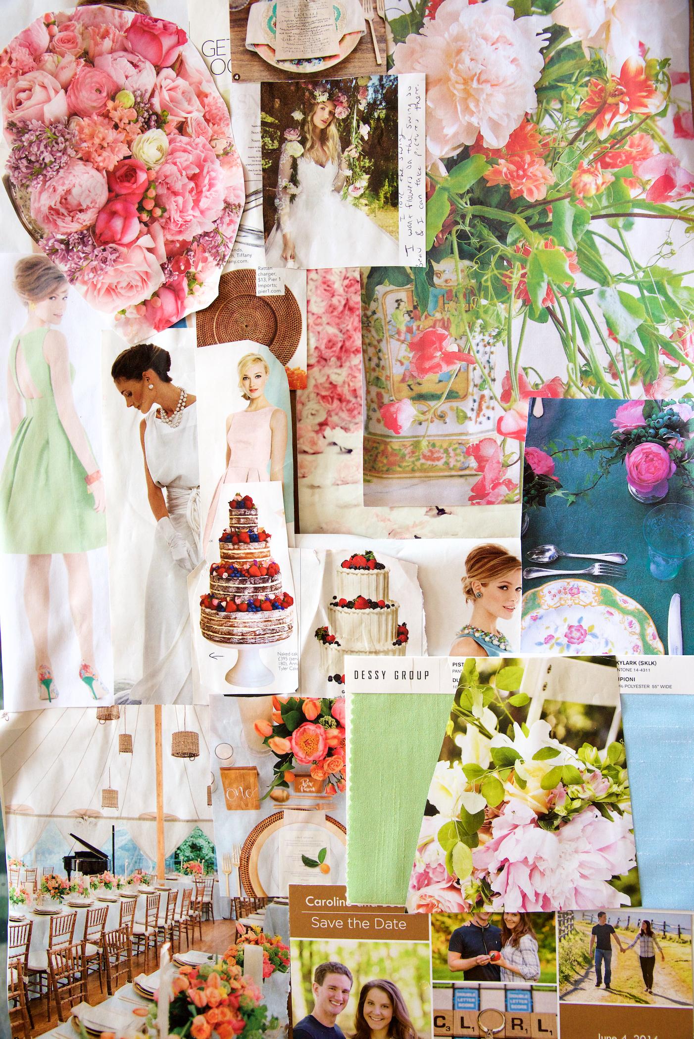 A Yellow Dahlia Inspiration Board created for a garden wedding, June 2016