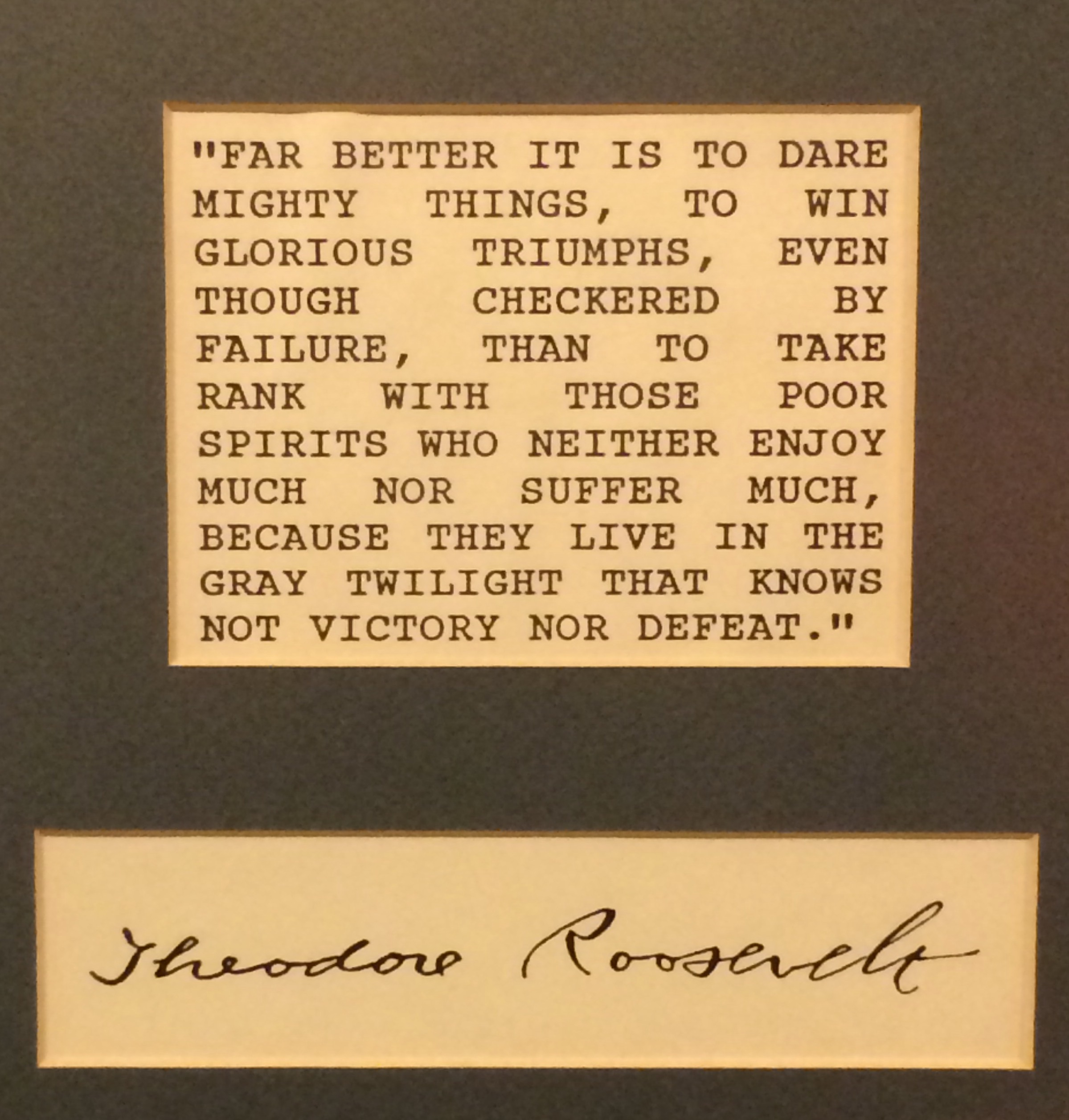 A pertinent quote at the Menger Hotel Bar in San Antonio. It's where Teddy Roosevelt recruited the Rough Riders.
