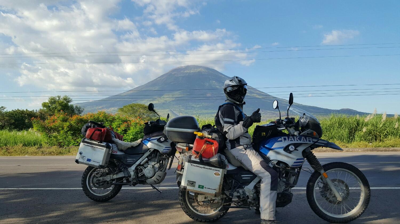 Dom in front of a volcano in southern El Salvador.