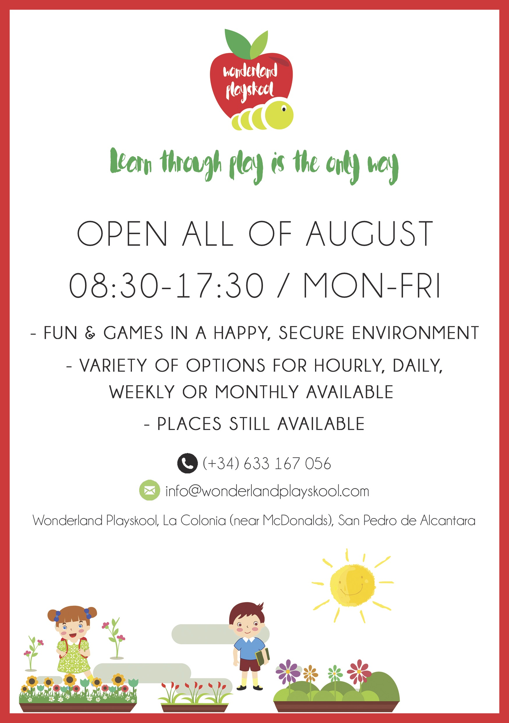 Wonderland Playskoo Nursery - Summer Flyer
