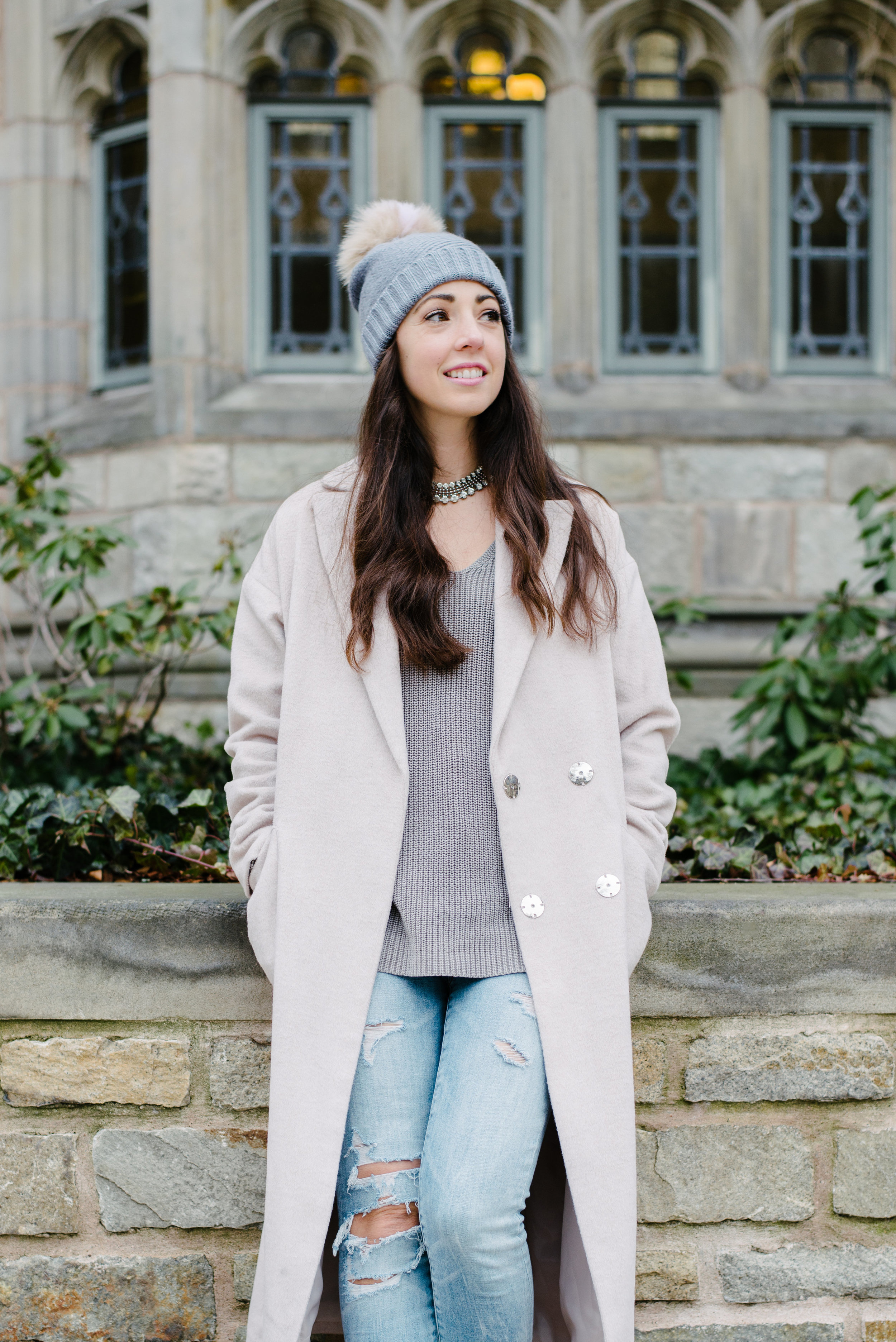 pompom hat with trench coat