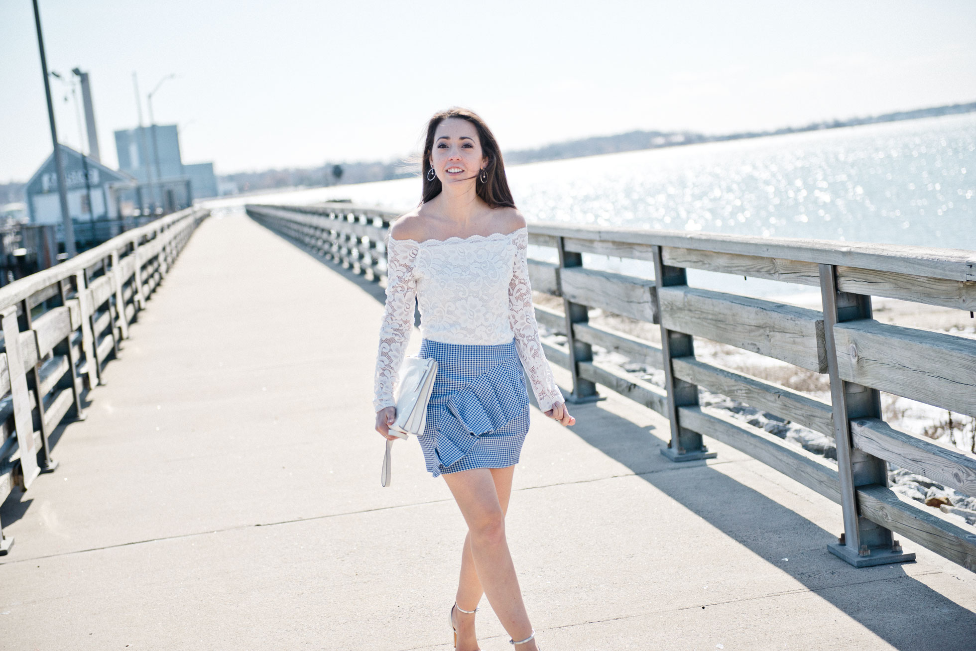 top shop gingham ruffle mini skirt