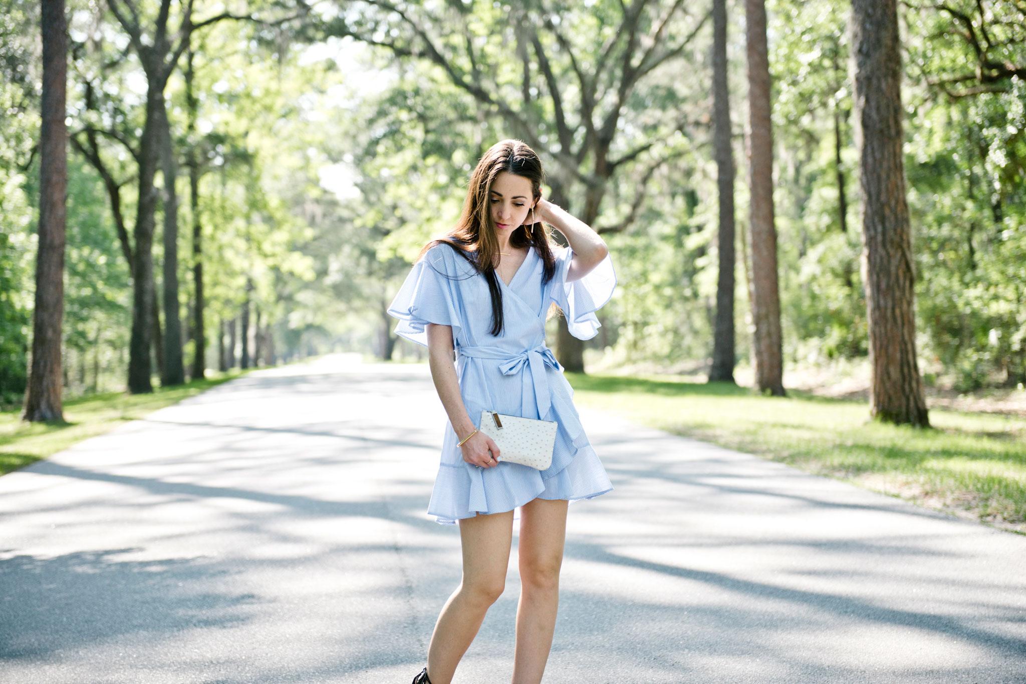 Top Shop Stripe Wrap Dress