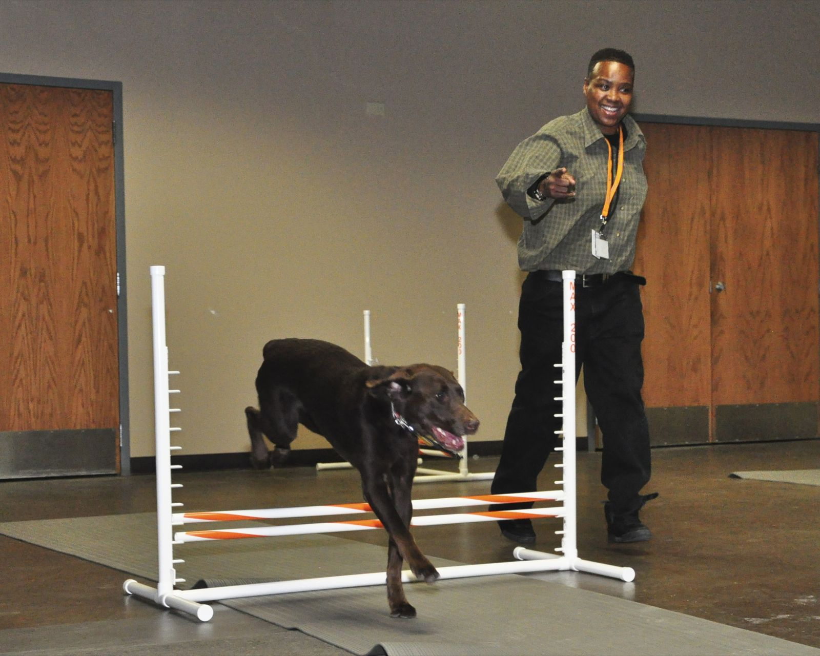 Therapy dog Kayla navigates an agility course with a Haymarket Center participant.