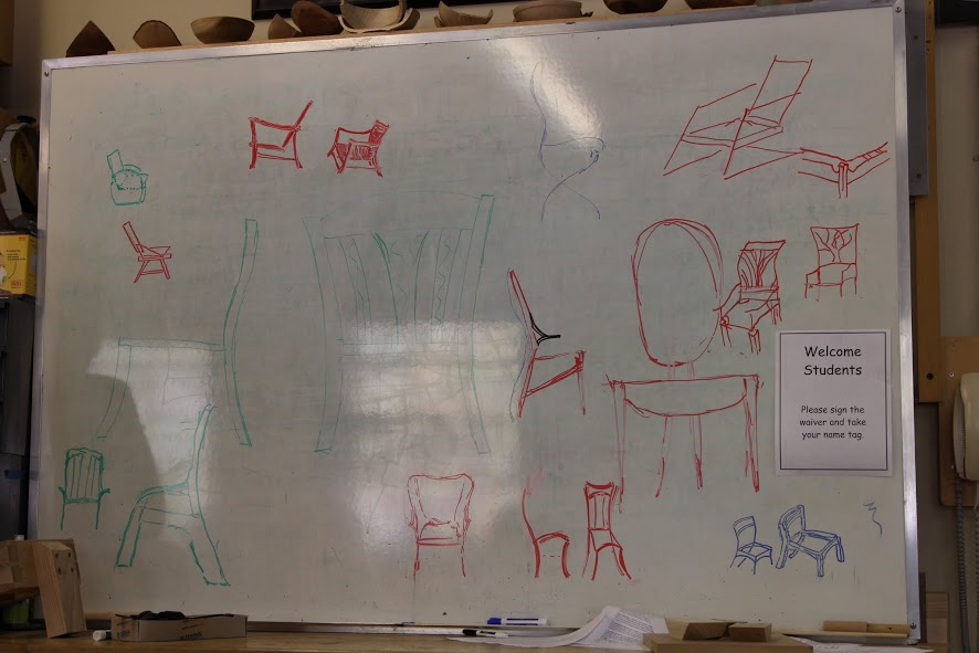The whiteboard during our group design exercise