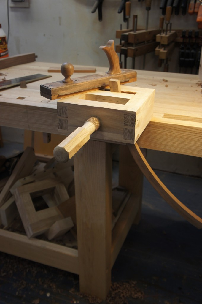 The set-up for cutting the shoulder on a curved part