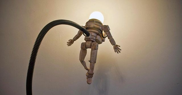 "Here's a closer look ""Aldrin"", my floating astronaut lamp. He was one of my early creations in my #peoplewhoinspireme series. I'm going to be revisiting him soon to hopefully make him shippable, but until then he'll continue to live in my studio!"