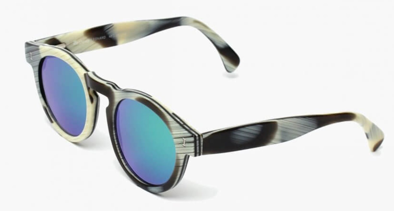 ILLESTEVA Leonard sunglasses | horn with green mirrored lenses