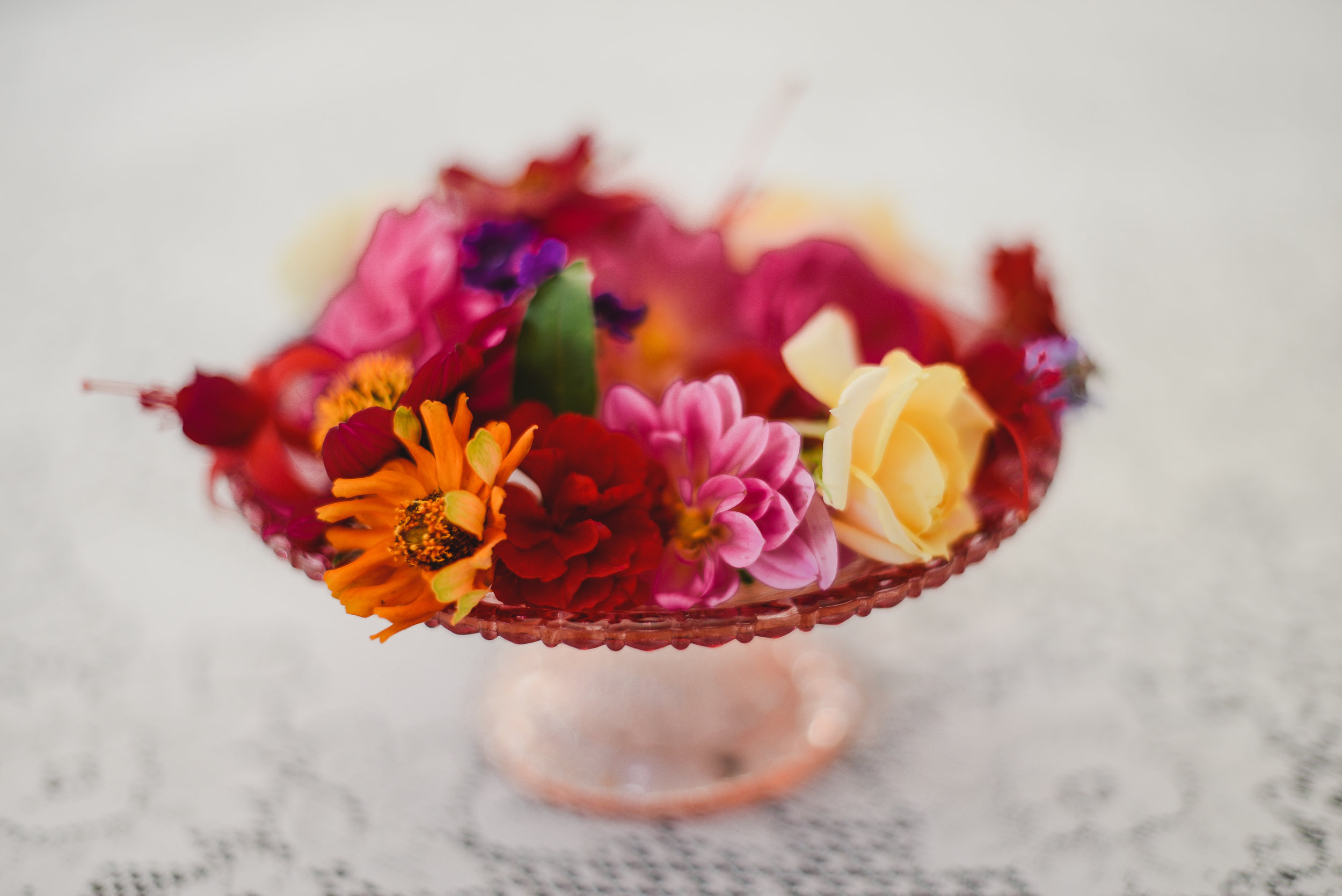 garden flowers on a cake tray