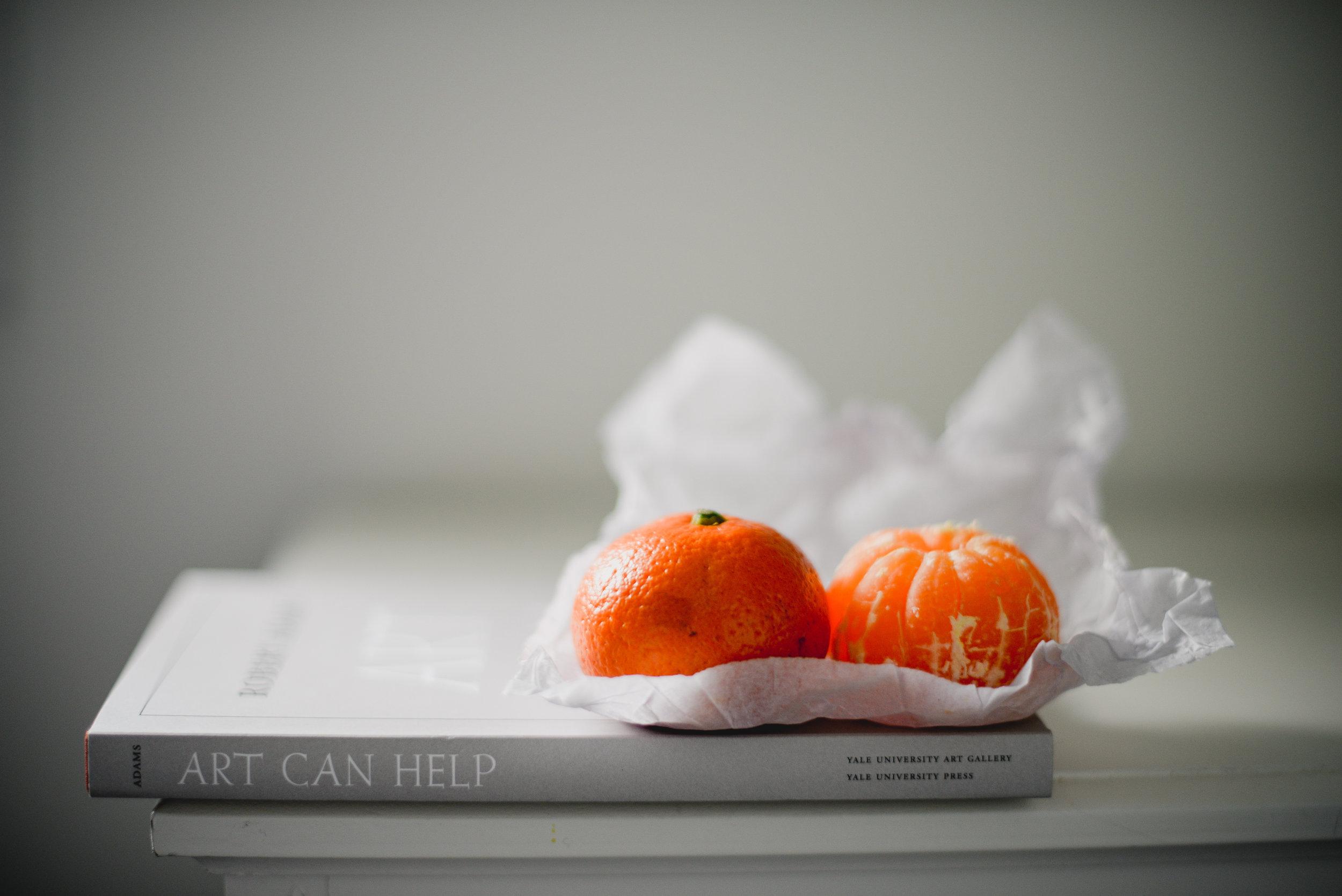 oranges and book