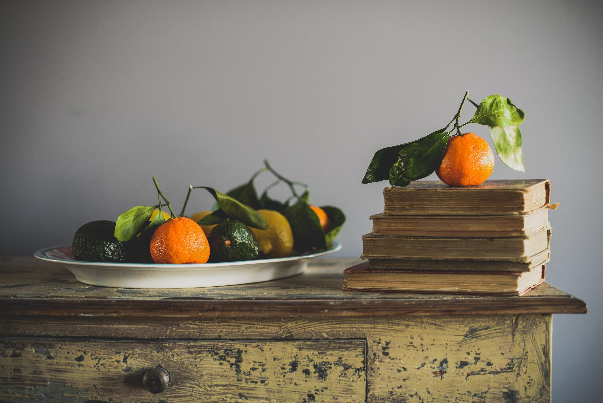 oranges and books