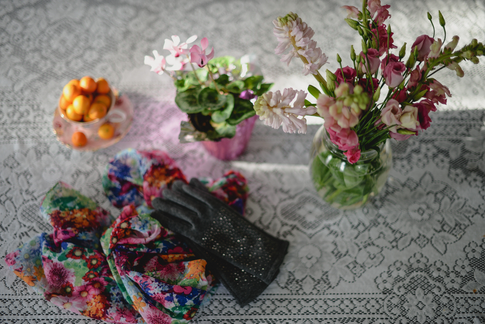 flowers, scarf, gloves
