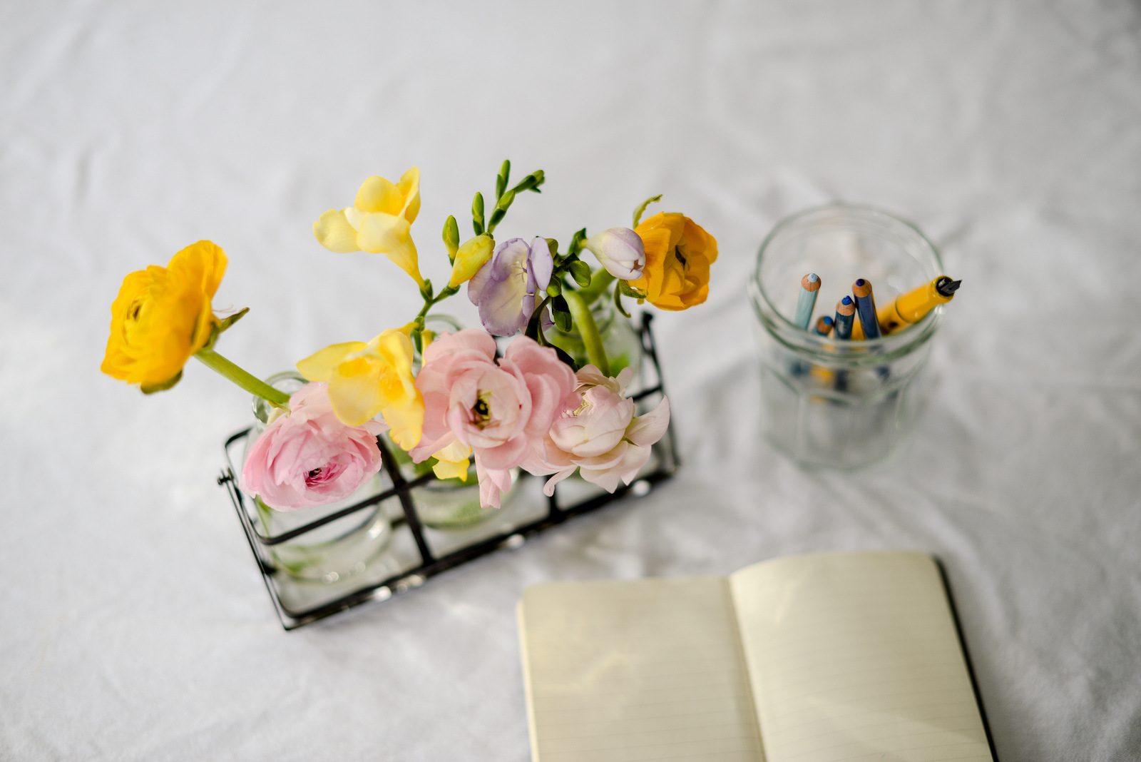 ranunculus and notebook