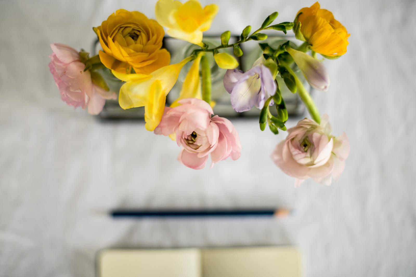 flowers, pencil, notebook