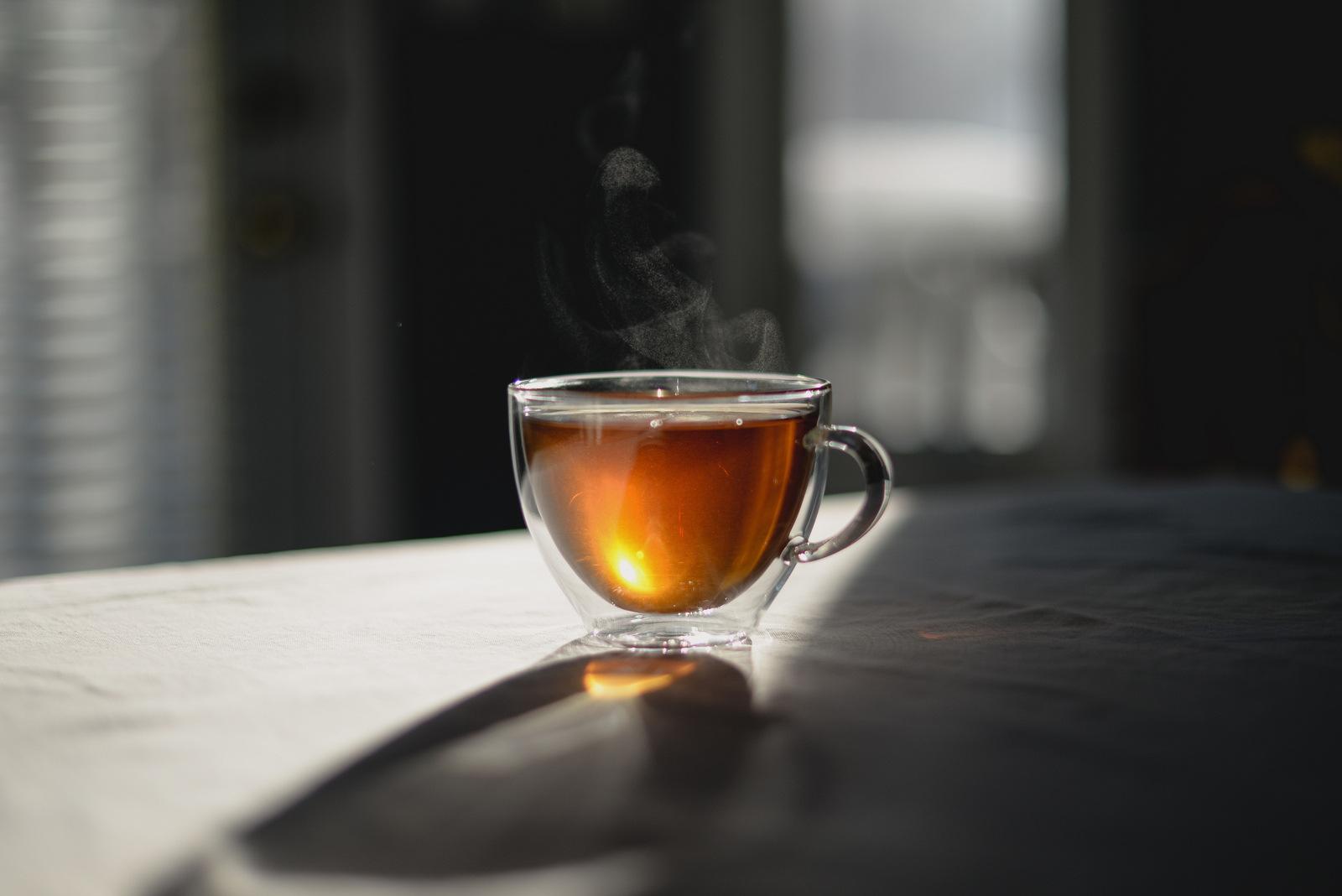 steaming tea cup
