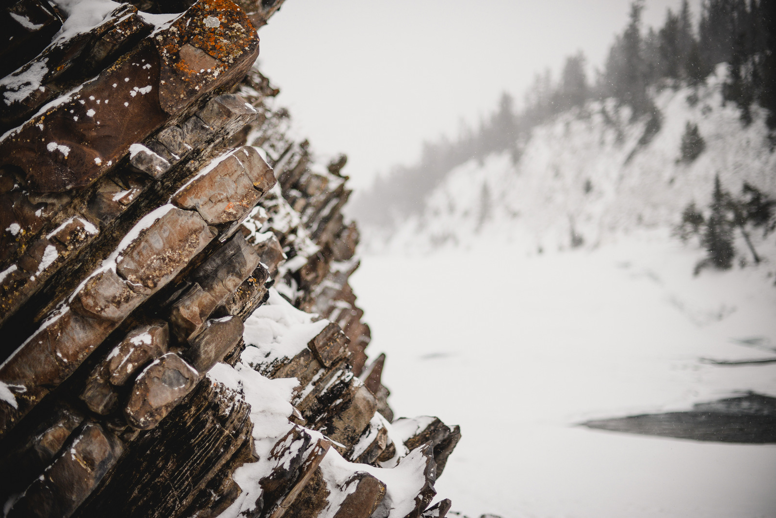 Bow Valley Falls in a snowstorm