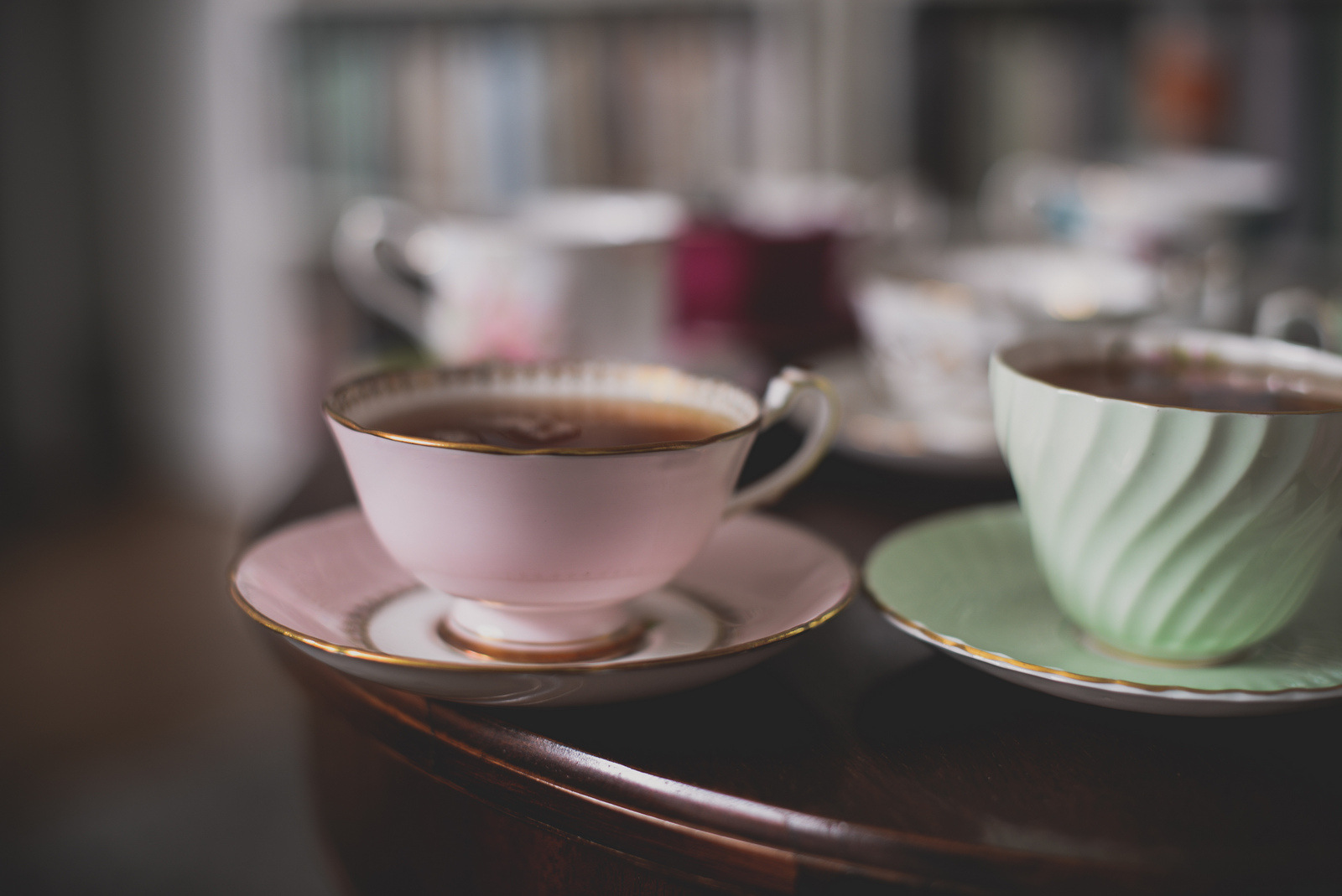 pink and green teacups