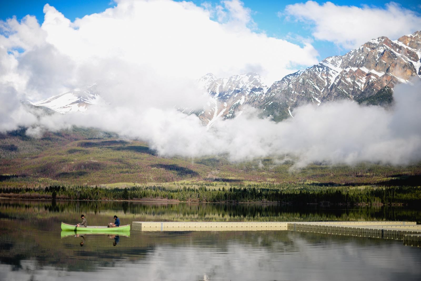 Pyramid Lake and green canoe