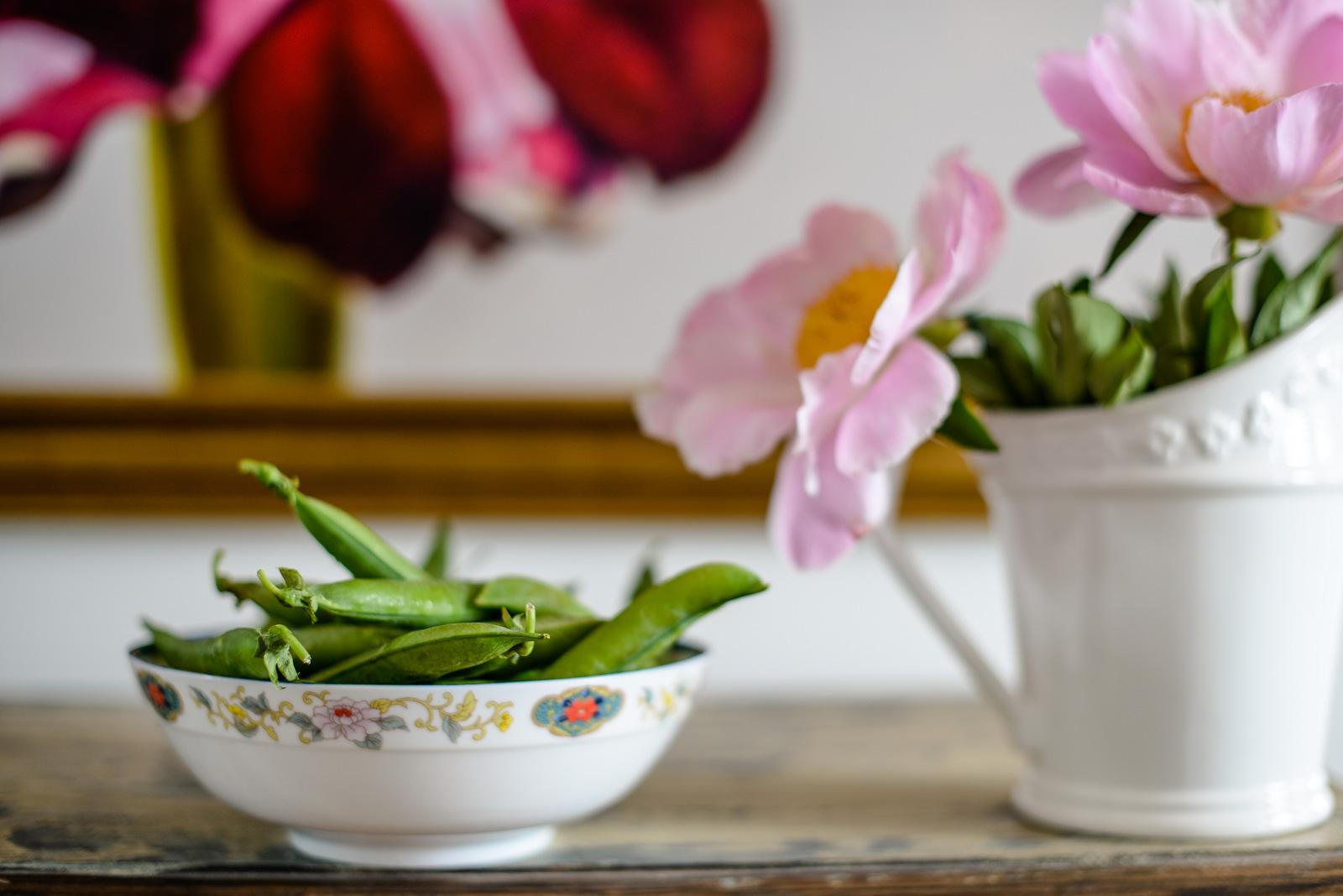 peonies and garden peas