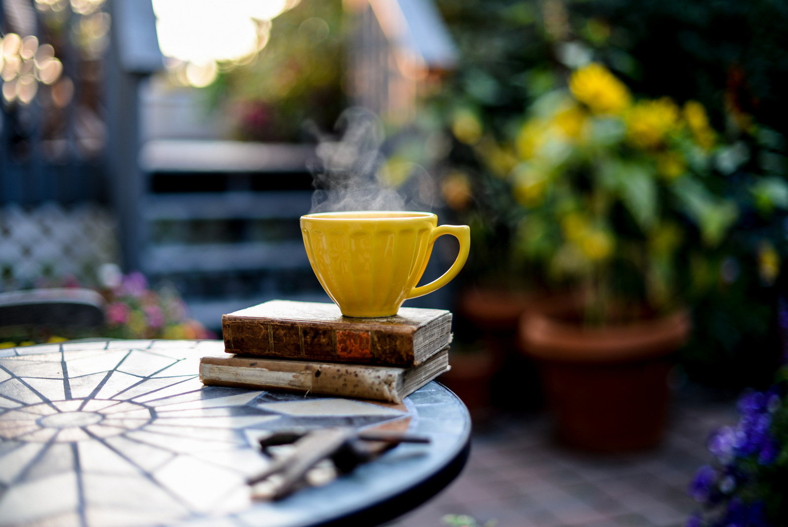yellow teacup and steam
