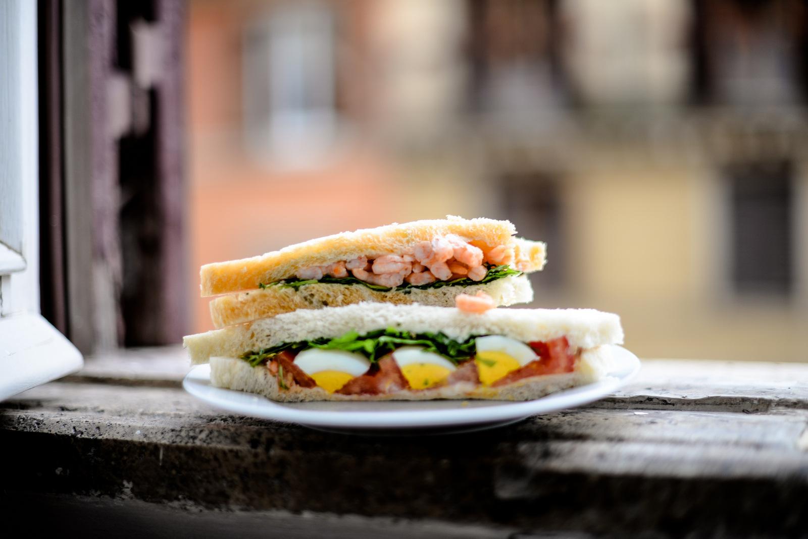 sandwiches on a windowsill