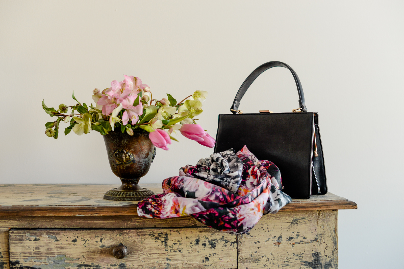 flowers and purse