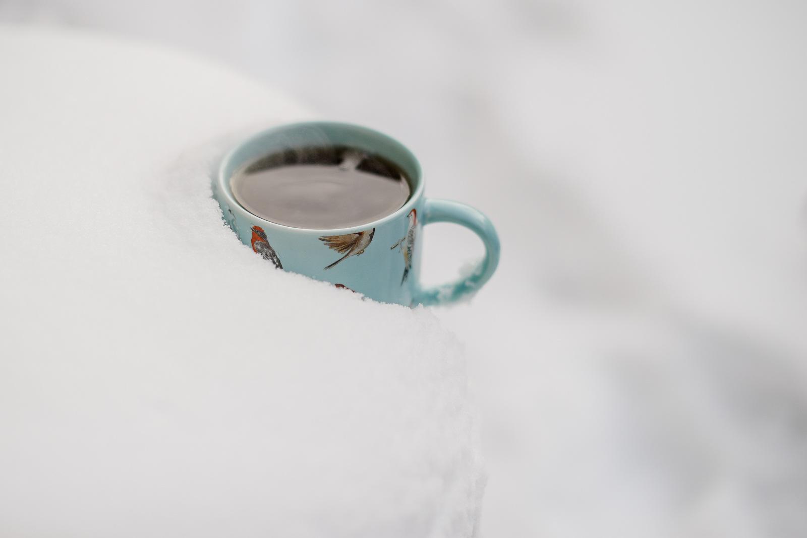 blue mug in snow