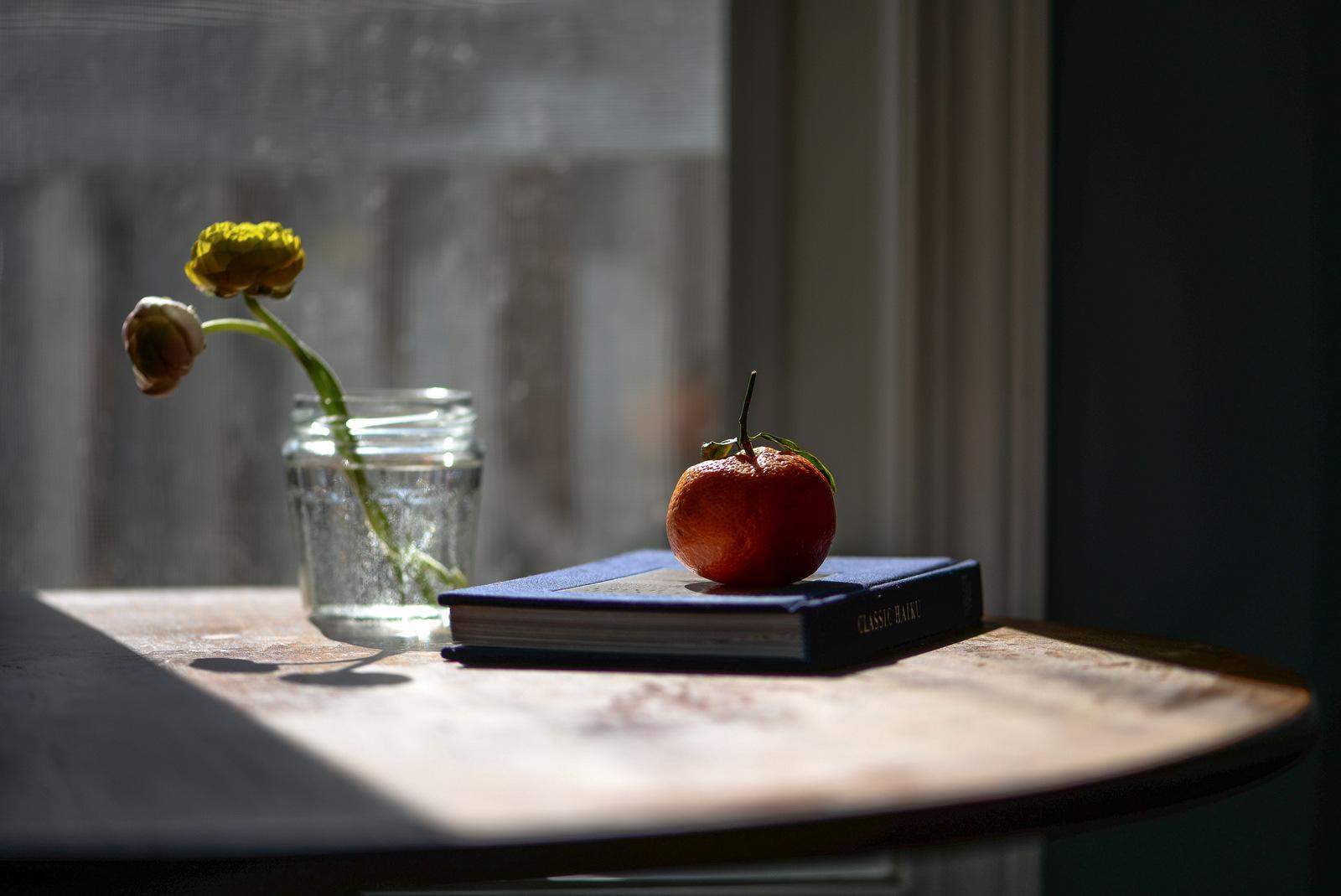 haiku book with orange and flowers