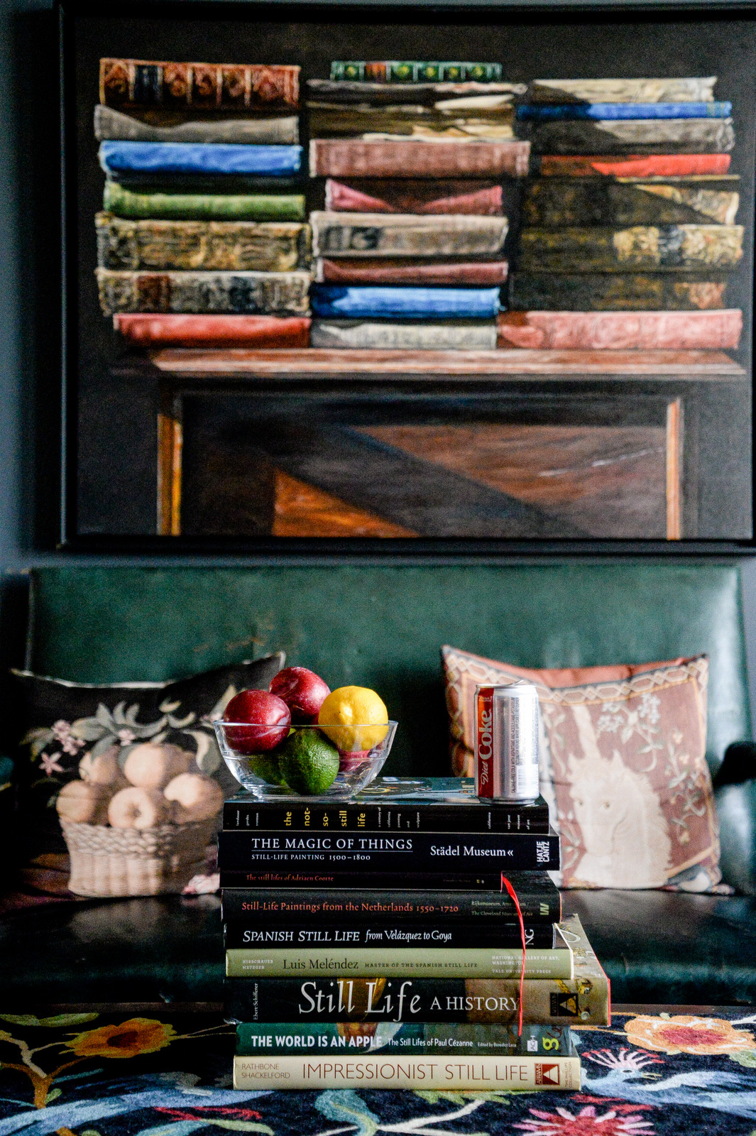 still life with books and fruit by shawna lemay