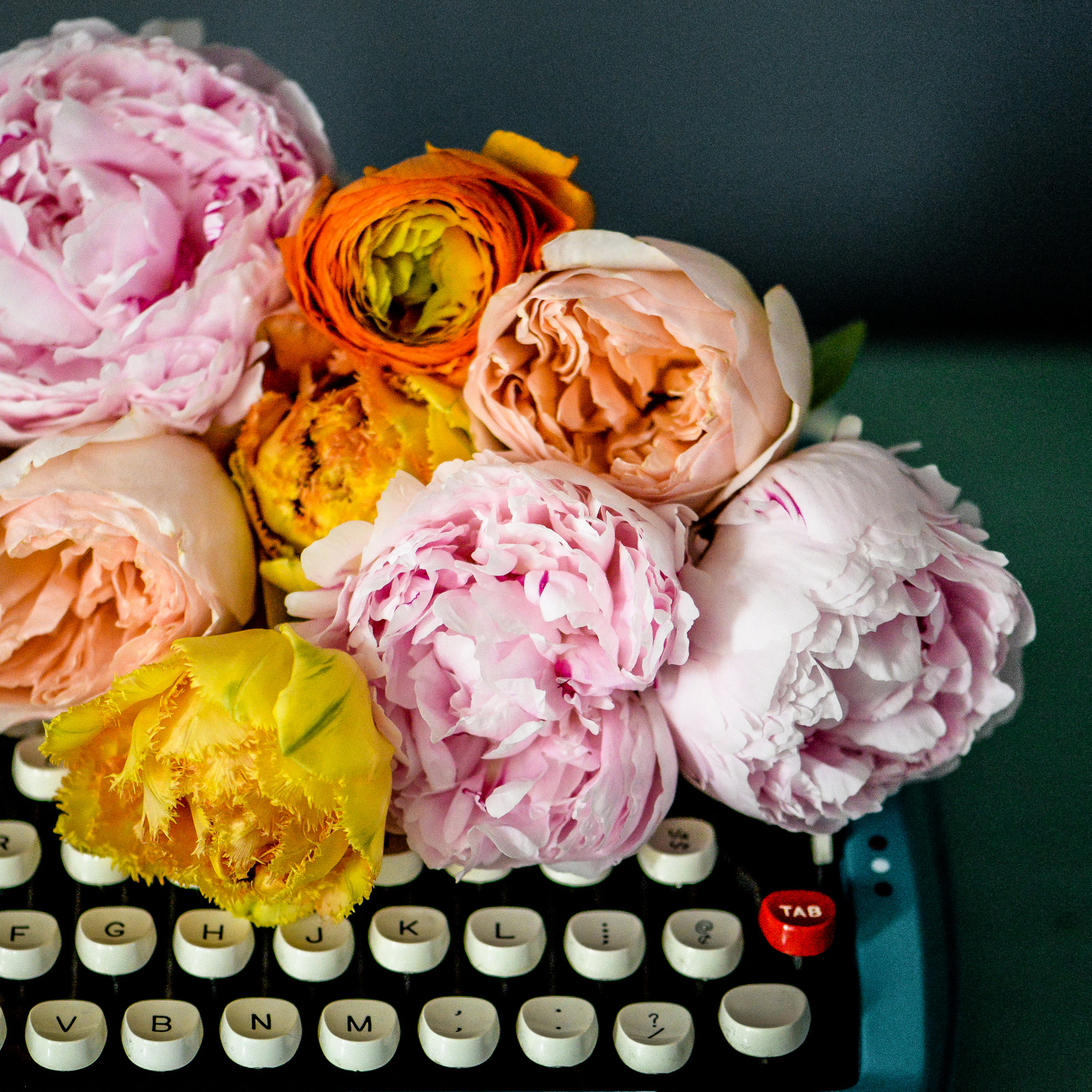 flowers and typewriter