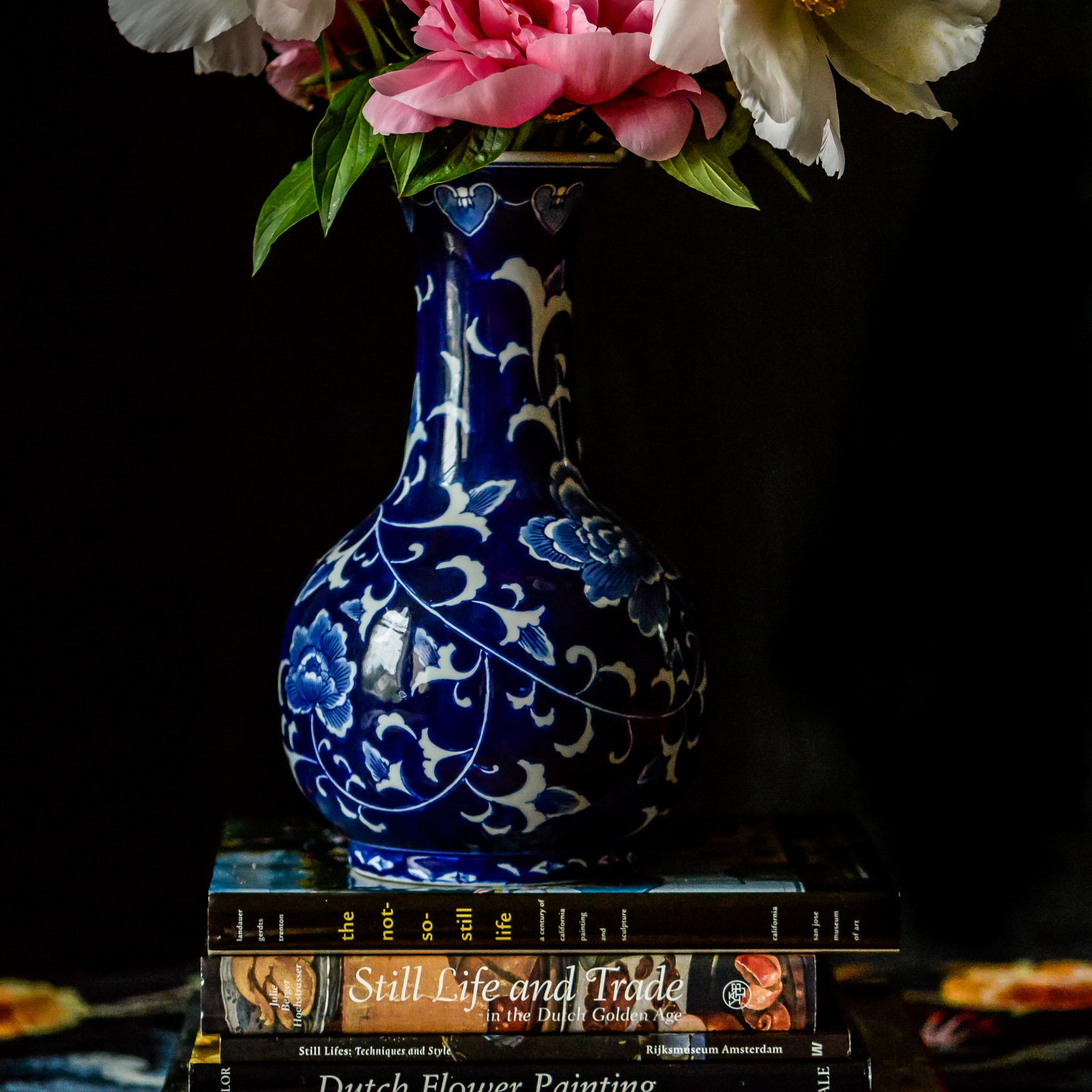 peonies and books