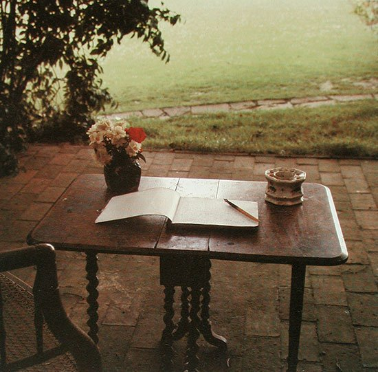 Photograph of Virginia Woolf's writing table, Sussex, 1965 by Gisèle Freund
