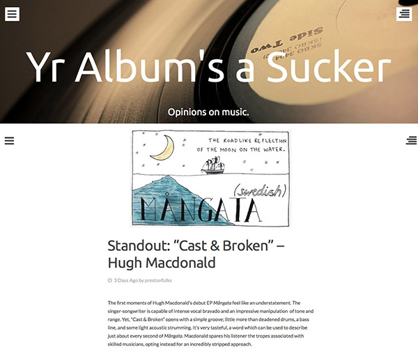 Mångata Blog Review    A huge thank you to Preston Fulks for his Mångata review on his blog,    'Yr Albums A Sucker'
