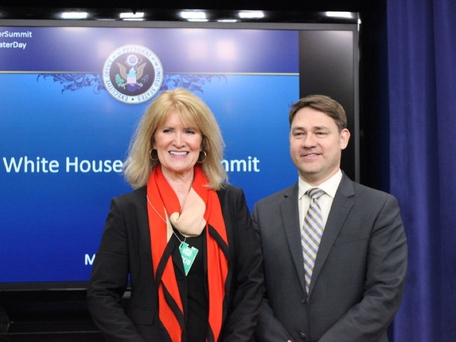 Copyright 2016 Scripps Media, Inc. All rights reserved. This material may not be published, broadcast, rewritten, or redistributed.   Melinda Kruyer, director of Confluence, and Michael Murphy, who helps run the New England Water Innovation Network, pose Tuesday after the White House Water Summit in Washington. SHFWire photo by Luke Torrance