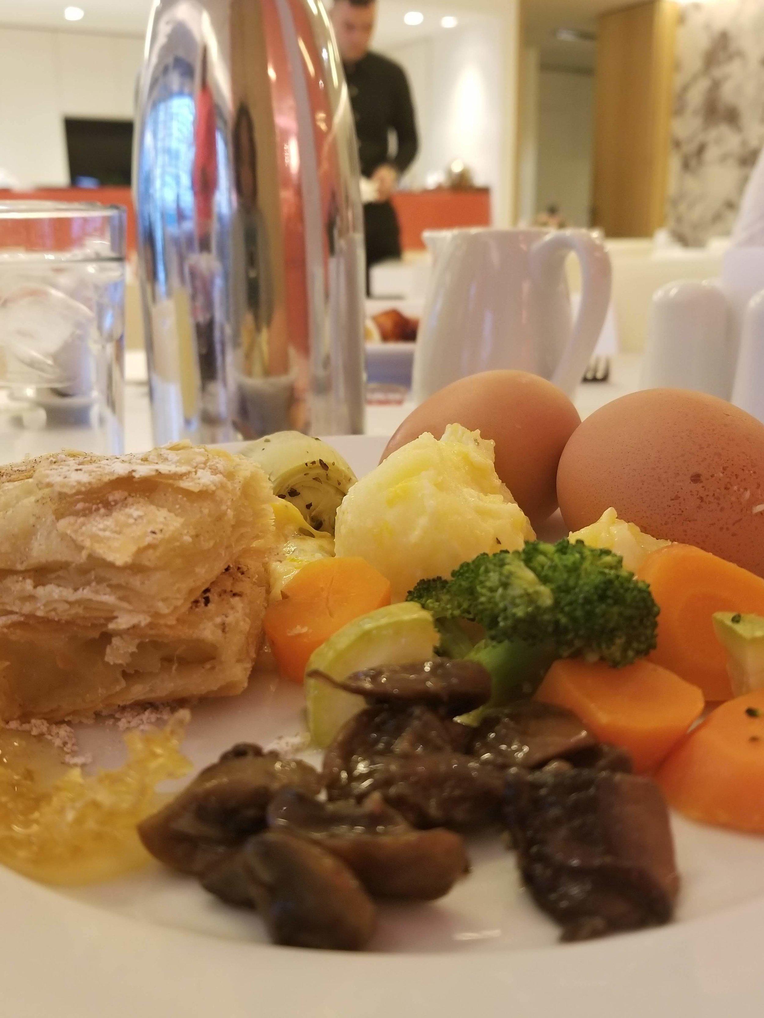 Baklava, artichokes, sautéed mushrooms, steamed veggies, potatoes au gratin, boiled eggs.
