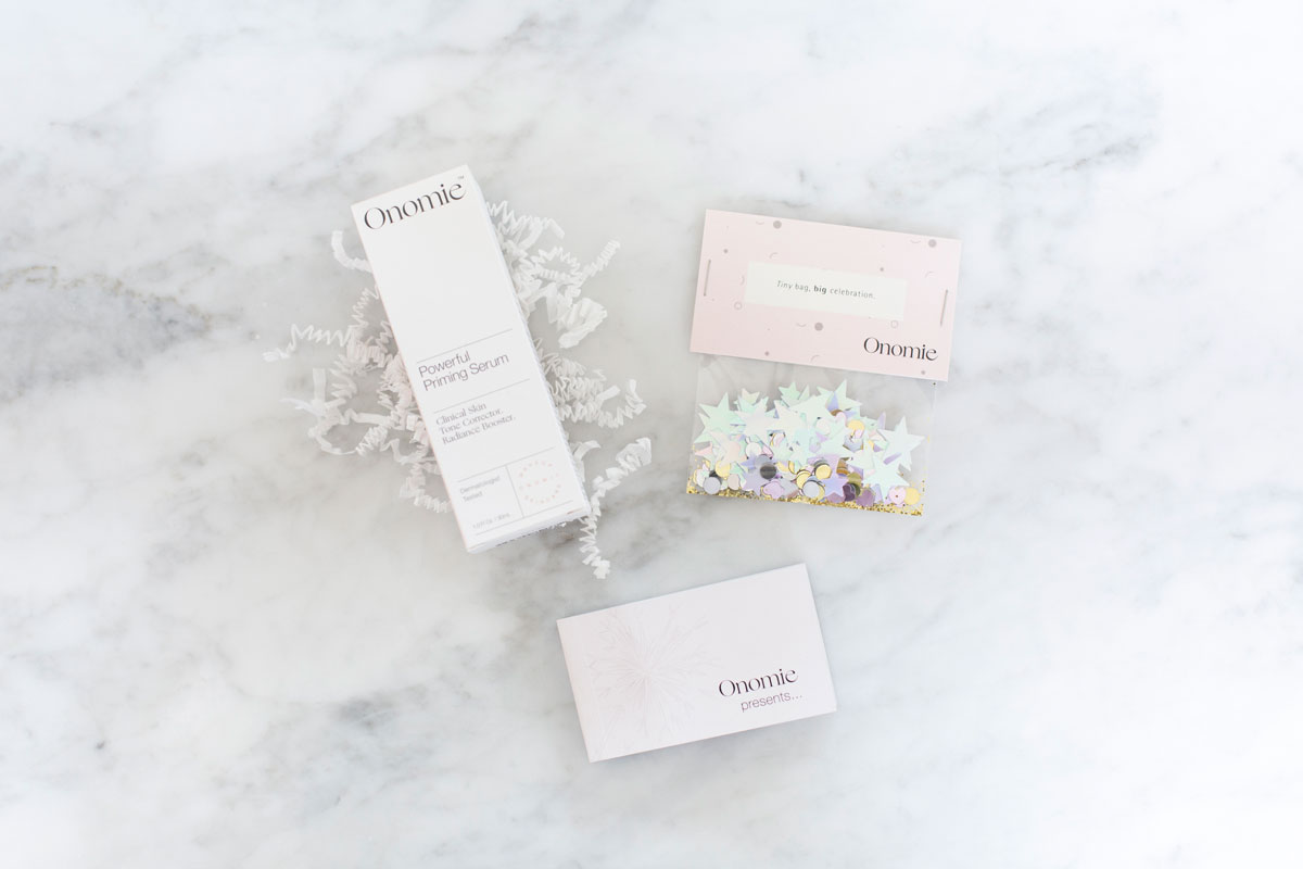 Custom confetti package and   flipbook  for a beauty influencer box.