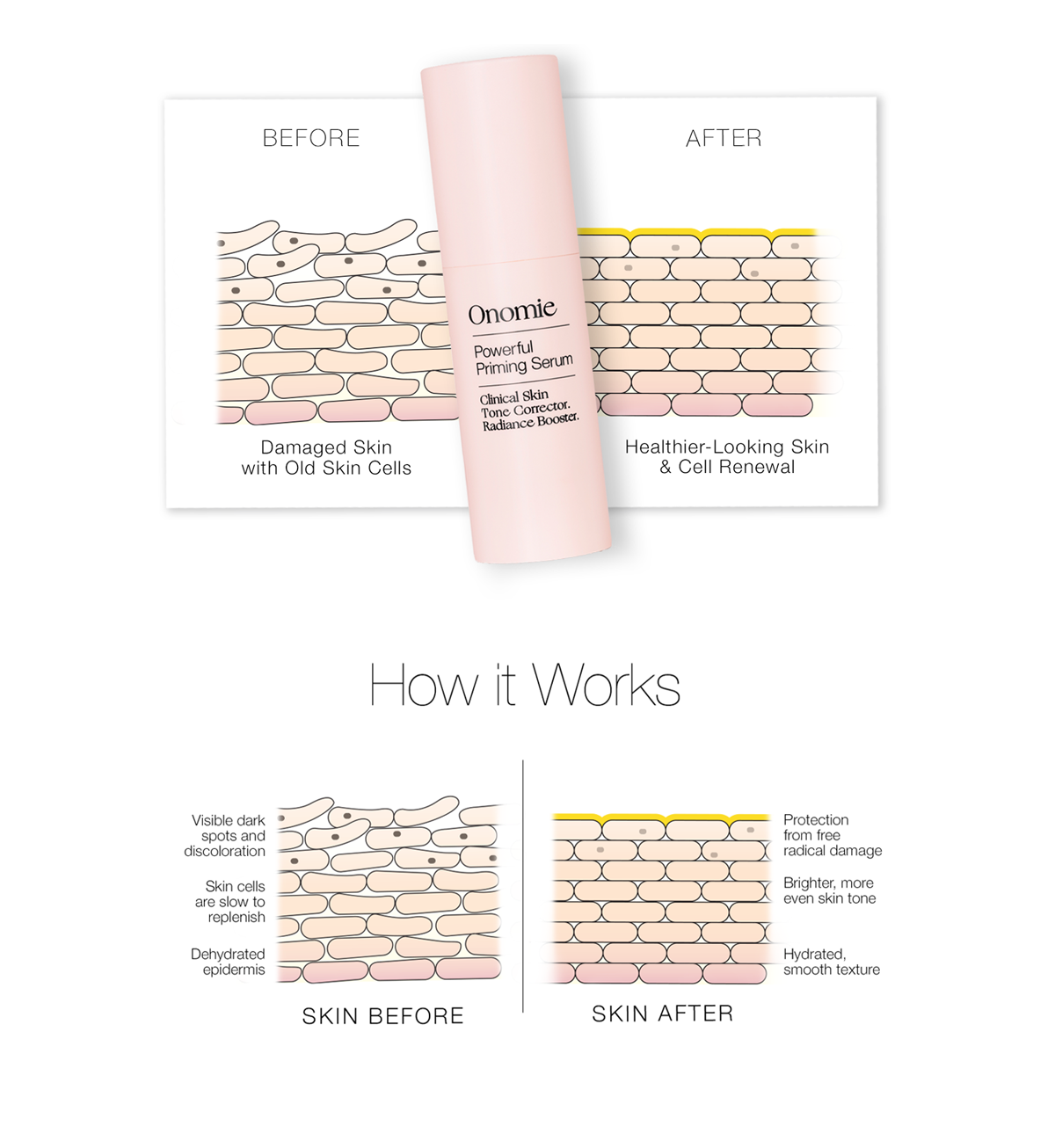 Powerful Priming Serum skin illustration as part of an e-mail campaign.