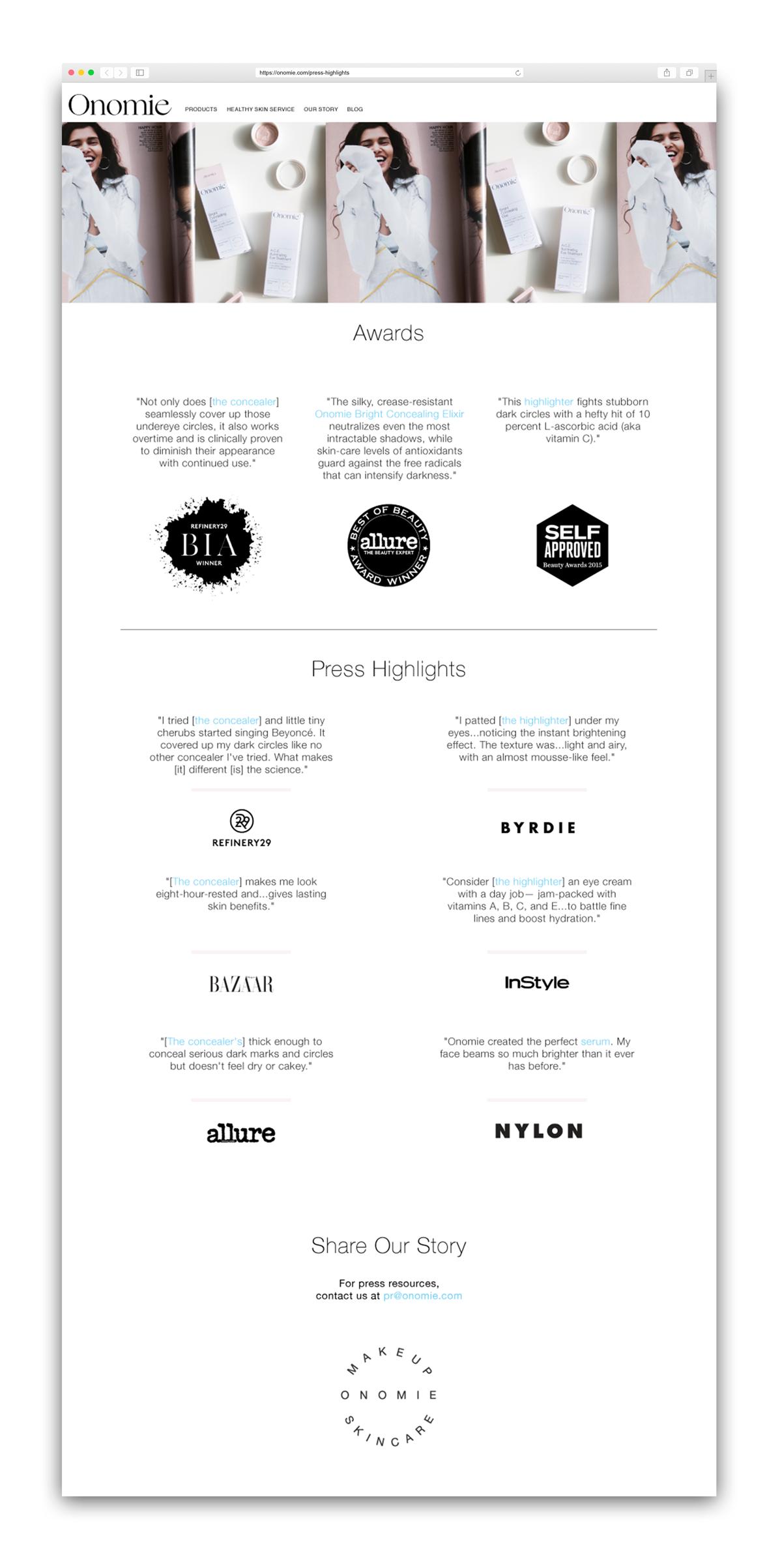 Press page web design.