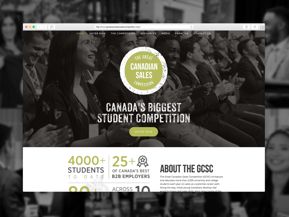 Homepage of the 2018  Great Canadian Sales Competition  site