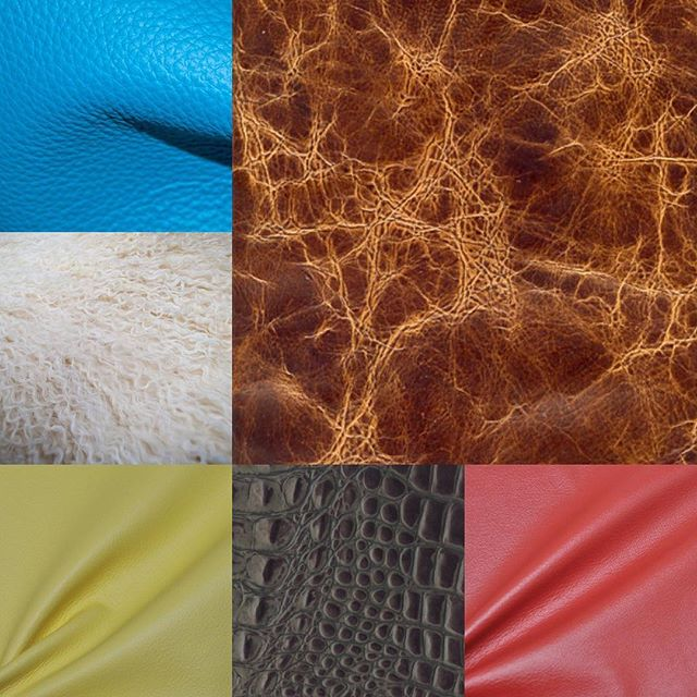 Some of the unique colors and textures of Carroll Leather #interiorinspiration #designer #architecture