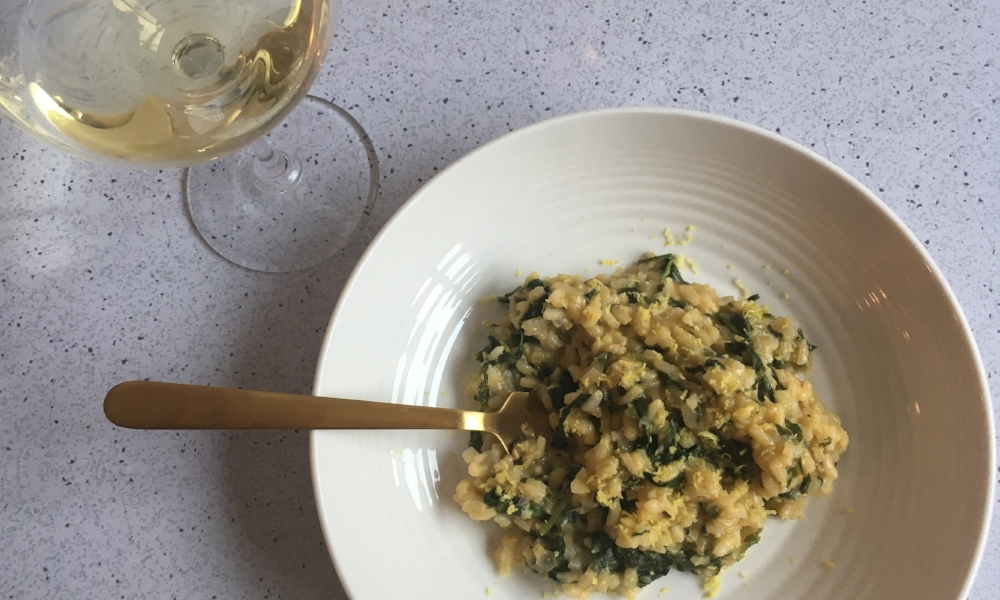 Lemony Spinach Risotto with Chardonnay