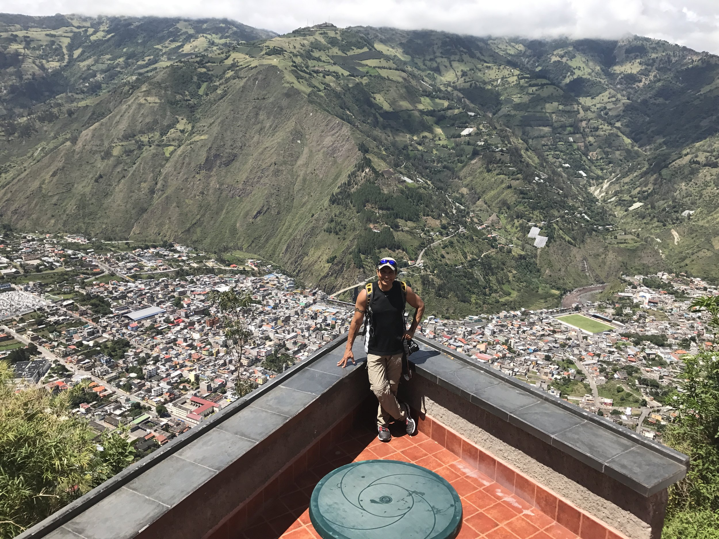 View from the lodge overlooking the City of Baños.