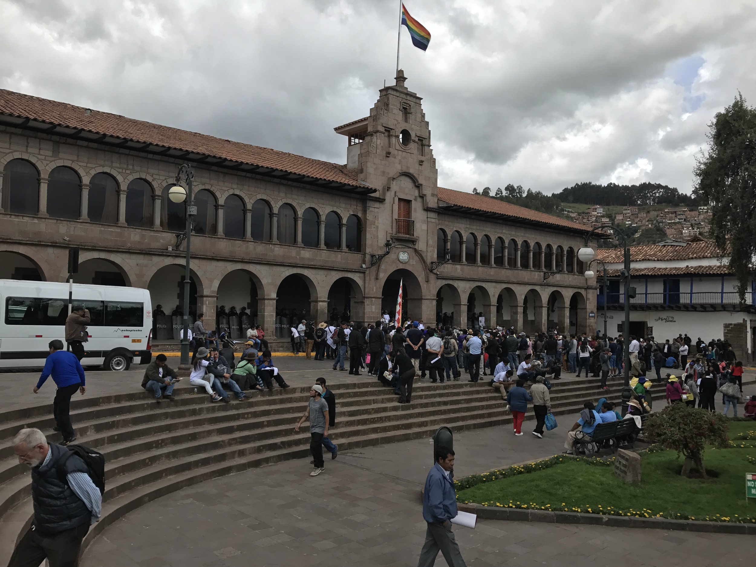 Peaceful demonstration held in front of a government building.