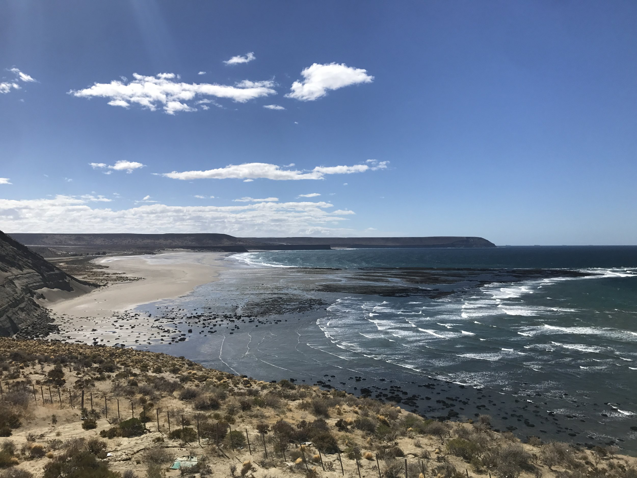 One of many isolated beaches along the Argentinean coast.