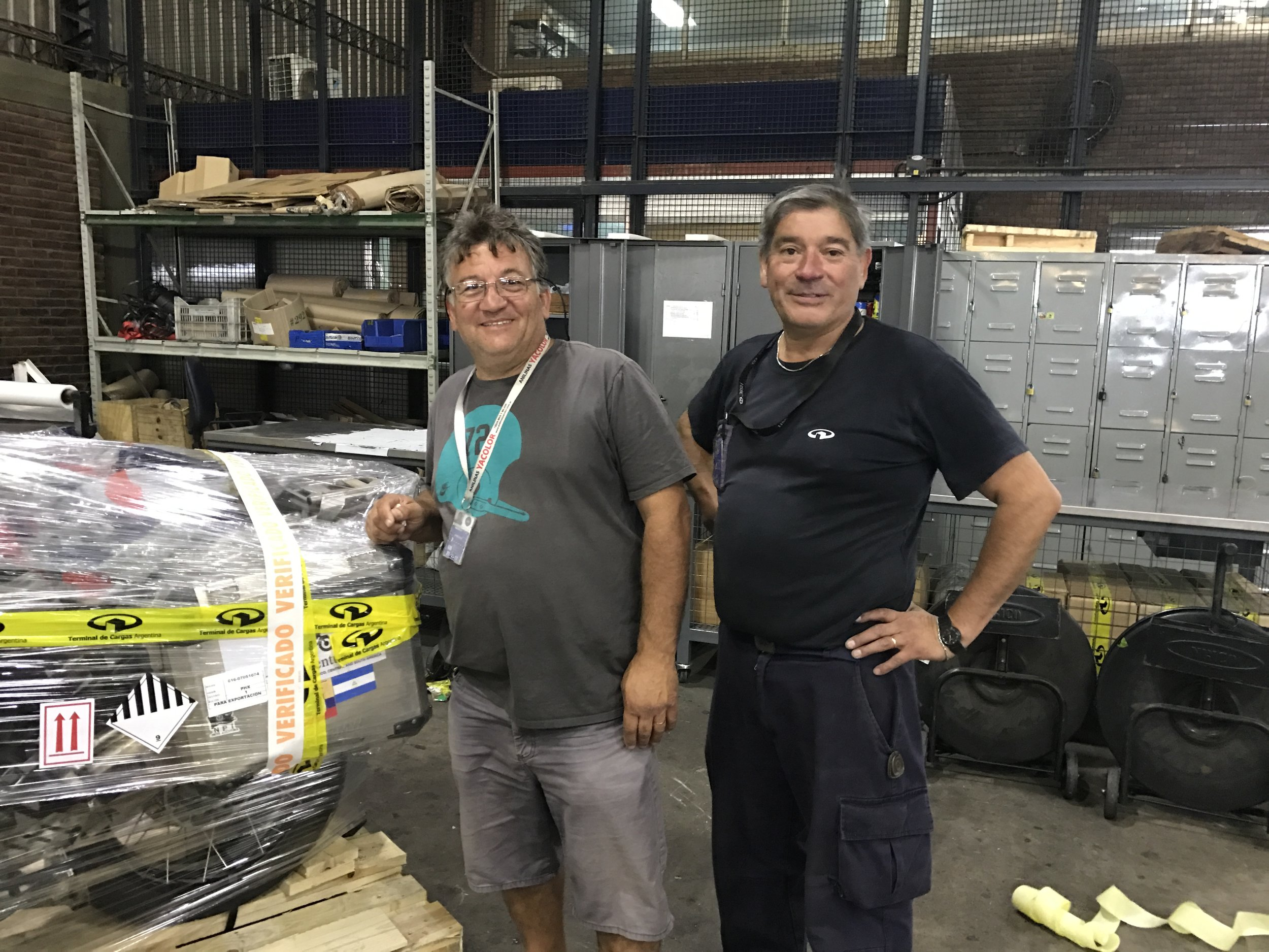 Franco and the gentleman who packed my bike for shipment.