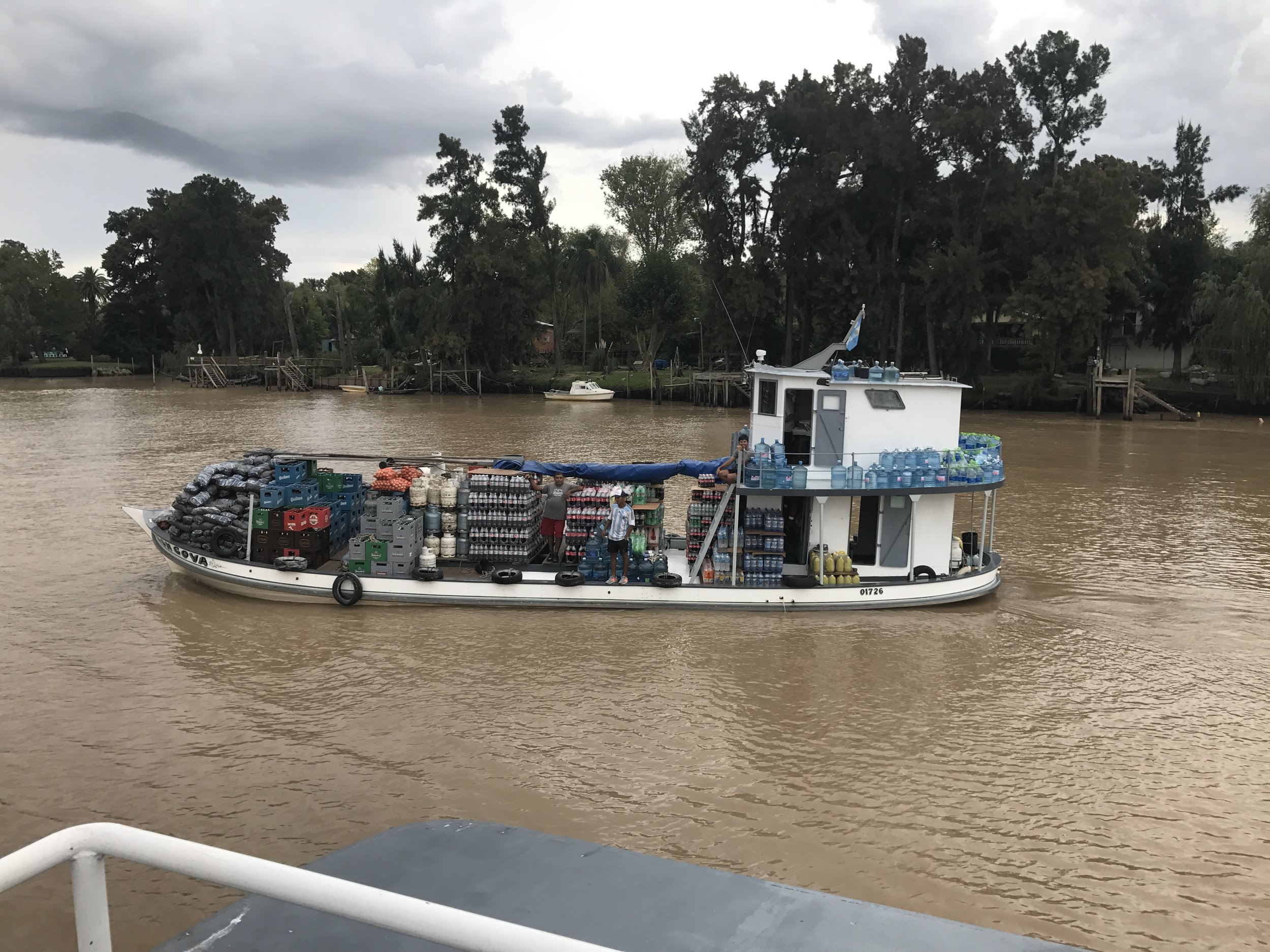 This ship stops by homes in the delta to sell them grocery items. They are the Costco of the delta.